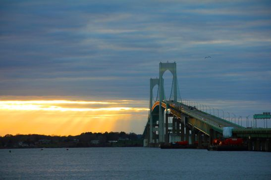 Sunset over Newport Bridge