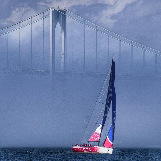 Team SCA passing Newport Bridge